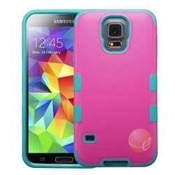 MYBAT Natural Hot Pink/Tropical Teal TUFF Merge Hybrid Protector Cover compatible with Samsung Galaxy S5