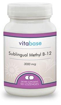 Vitabase Sublingual Methyl B-12 Supports Improved Energy Levels 3000 mcg 50 Lozenges (Pack of 2) (Mcg 50 Lozenges)