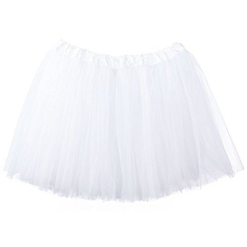My Lello Adult Tutu Skirt, Classic Elastic 3 Layer Tulle Tutu for Women and Teens - White ()