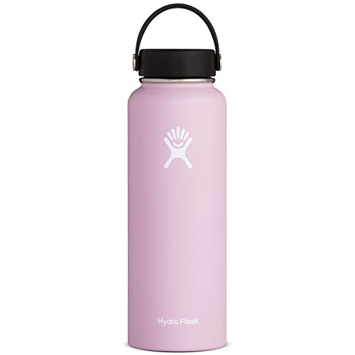 Hydro Flask Water Bottle - Stainless Steel & Vacuum Insulated - Wide Mouth with Leak Proof Flex Cap - 40 oz, Lilac