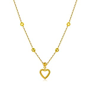 """18K Solid Gold Heart Necklaces for Women, """"Love You Forever"""" Yellow Gold Heart Pendant Necklace Love Jewelry Gift for Her, Mom, Wife, Girl 18"""""""