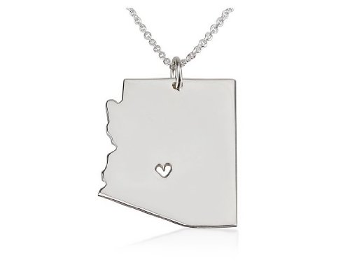 State Necklace Arizona State Charm Necklace Sterling Silver State Necklace with a Heart (16 - State Arizona Sterling Silver Charm