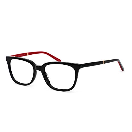 OCCI CHIARI Rectangle Stylish Eyewear Frame Non-prescription Eyeglasses With Clear Lenses Gifts for Women (A- Black/Red(Anti Blue Light))