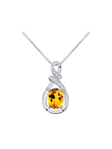 RYLOS Simply Elegant Beautiful Yellow Topaz/Citrine & Diamond Pendant/Necklace - November Birthstone