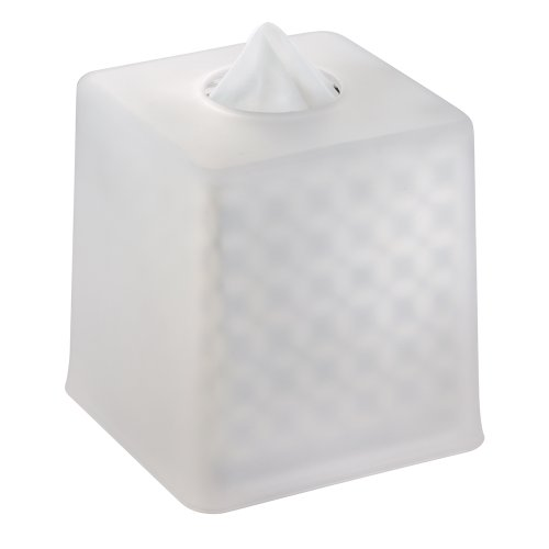 InterDesign York Facial Tissue Box Cover/Holder for Bathroom Vanity Countertops - Clear Frosted/Chrome (Frosted Box)