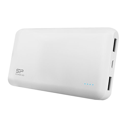 Silicon Power 5000mAh High Capacity S50 Portable Charger External Battery Power Bank, 2.1A Output and Dual USB Ports for iPhone, iPad, Samsung, Galaxy and Other Smart Devices - White