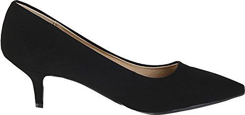 Heel City Classified Toe Dress Black Soda Kitten Pointd Hailey Pumps Womens Nubuck F8wFr6q