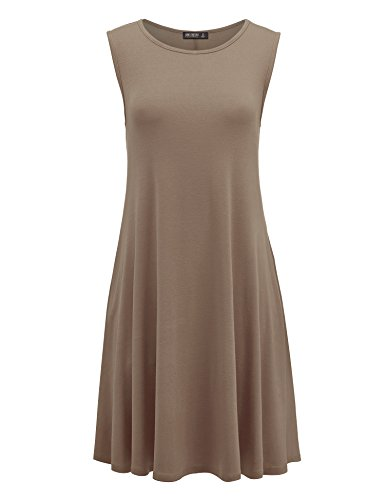 Vous Réunissez Californie Womens Poche Swing Sans Manche Solide Casual Dress- Made In Usa Wdr1519_taupe