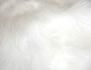 Lisa en Blanco Brillante CRS Fur Fabrics Tela de Piel de Pelo de imitaci/ón