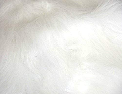 BRIGHT WHITE LONG Pile Fun Faux Fur Fabric Material