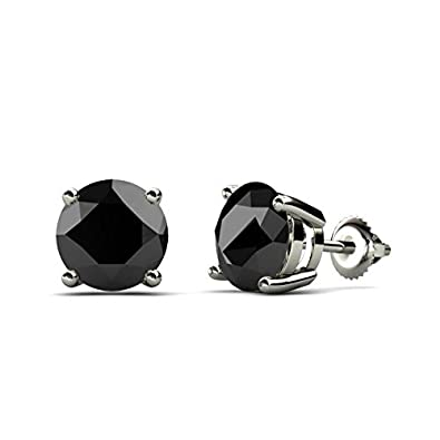 TriJewels Black Diamond Stud Earrings 4.00 ctw in 14K White Gold