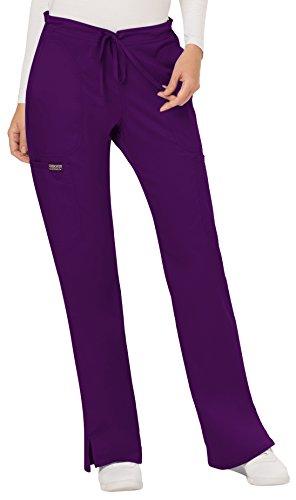 WW Revolution by Cherokee Women's Mid Rise Moderate Flare Drawstring Pant, Eggplant, M (Pants Scrub Purple)