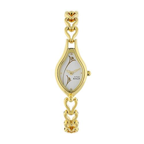 Titan Raga Women's Bracelet Watch   Quartz, Water Resistant   Gold Band and White Dial