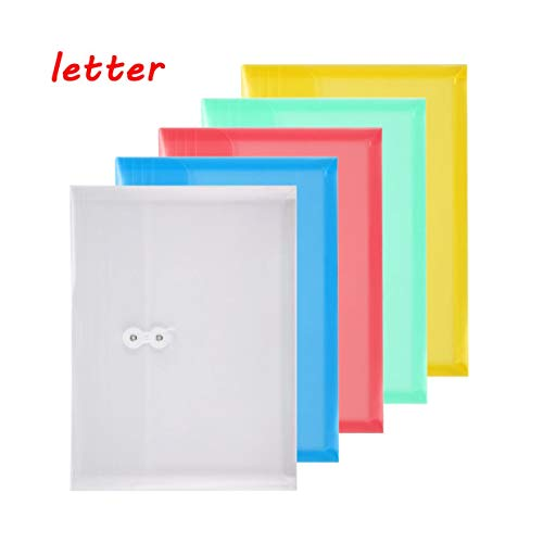 TIENO Poly Envelopes with String Tie Closure Assorted Color Letter Size Side Loading Folders Office Supplier ()