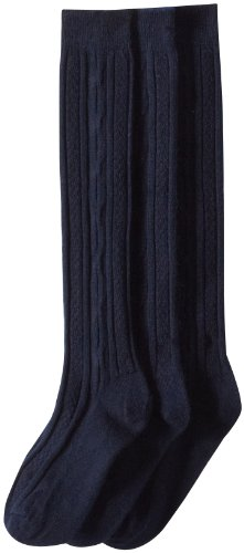 Jefferies Socks Big Girls'  School Uniform Acrylic Cable Knee High  (Pack of 3), Navy, Large