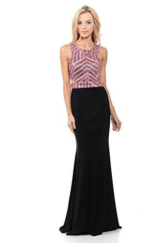 TwinMod Geometric Sequined Floor Length Prom Bridesmaid Evening Dress (Medium, Black/Pink)