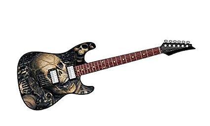 Cool diseño de guitarra eléctrica con diseño de mal cráneo Horror ...