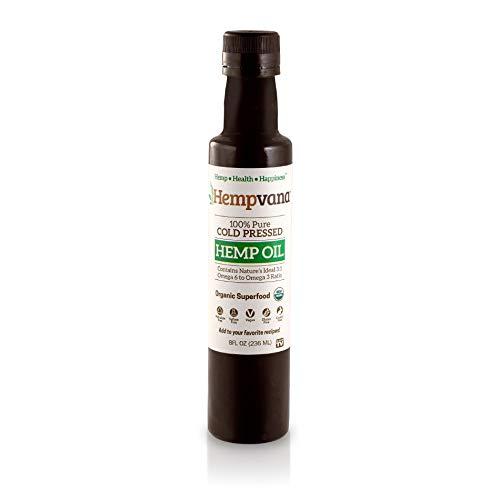 Hempvana Hemp Oil USDA Organic, Cold Pressed Hemp Seed Oil Perfect Dietary Supplement & Beauty Oil