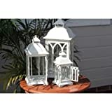 Indoor or Outdoor Set of 3 Lombard Candle Lanterns - Antique White