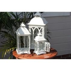Indoor or Outdoor Set of 3 Lombard Candle Lanterns - Antique White by Pebble Lane Living