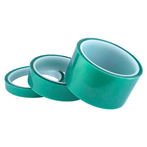 3-Pack Green Polyester Hi-Temp Masking Tape Multi-Sized Value Bundle; 1/2