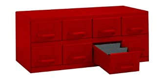 "Equipto 8-RD Steel Small Parts Cabinet with 8 Drawers, 23"" W x 9-3/8"" H x 12"" D, Each Drawer Divided into 3 Compartments, Textured Red"