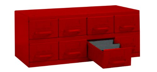 Equipto 8-RD Steel Small Parts Cabinet with 8 Drawers, 23'' W x 9-3/8'' H x 12'' D, Each Drawer Divided into 3 Compartments, Textured Red