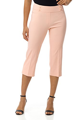 (Rekucci Women's Ease in to Comfort Fit Capri with Button Detail (6,Petal Pink) )