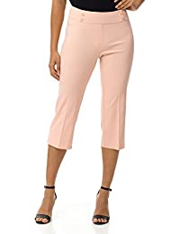 Women's Ease In To Comfort Fit Capri with Button Detail