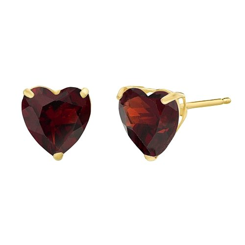 (Lavari - 1.60 cttw Heart 6MM Natural Red Garnet in 10K Yellow Gold Stud Earrings)
