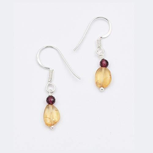 Natural Citrine Garnet Beads Drop Earrings with Sterling Silver Findings 1.50
