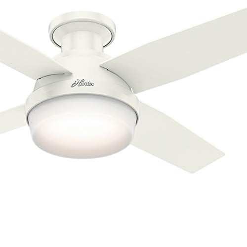 Hunter Fan 44 inch Contemporary Low Profile White Ceiling Fan with LED Light Kit and Remote Control (Renewed) - Hunter White Lighting