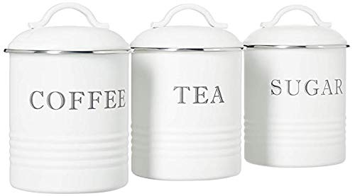 "Barnyard Designs Airtight Kitchen Canister Decorations with Lids, White Metal Rustic Farmhouse Country Decor Containers for Sugar Coffee Tea Storage (Set of 3) (4"" x 6.75"")"