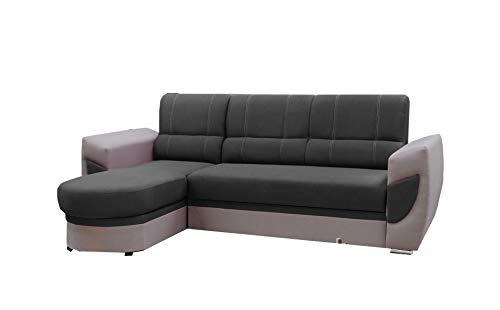 MEUBLO Canapé d'angle Convertibles Tissu et Simili Cuir TIMO (Gris foncé + Gris Clair (Tissu), Canapé d'angle Gauche)