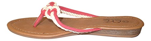 101 BEACH Prosperity Luck Knot Design Womens Sandal Coral c1Db27wniu
