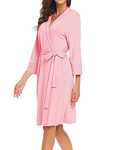 BLUETIME Women Robe Soft Kimono Robes Cotton Bathrobe Sleepwear Loungewear Short (XXL, Pink) ()