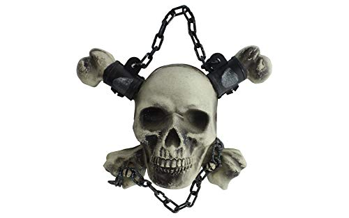 Darice 7.87 Inches x 9.84 Inches Plastic Hanging Skull Head Decor with Chain White/Silver Holiday Decorations -