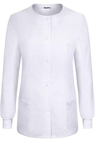 (MedPro Women's Medical Scrub Button Down Jacket w/Patch Pocket White L)