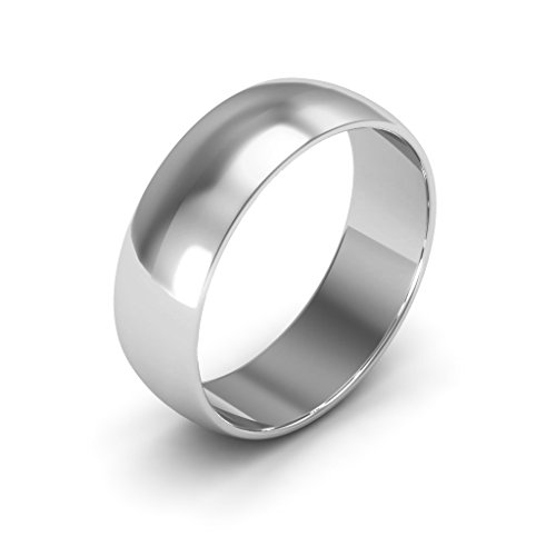 10K White Gold men's and women's plain wedding bands 6mm light half round, 6.25 by i Wedding Band