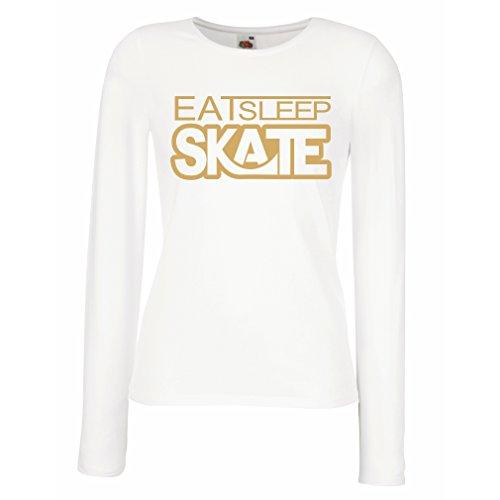 Camisetas de Manga Larga para Mujer Coma - sueño - patín - para los patinadores, skateboardboard, skateboard gifts Blanco Oro
