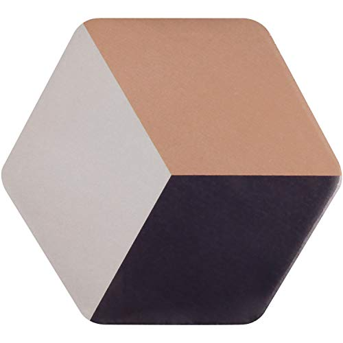 - Single Set Absorbent Ceramic Large Coaster for Drinks With Cork Base Protective,Simple Stripe Design Hexagon Stoneware Coaster,Awsome Housewarming Gift for Bar Table Decor Coffee Mat,5.3