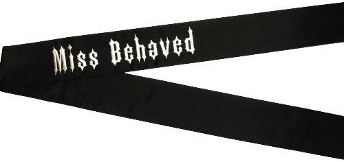 [Miss Behaved Black Deluxe Halloween Costume Sash] (Miss Behaved Women Costumes)