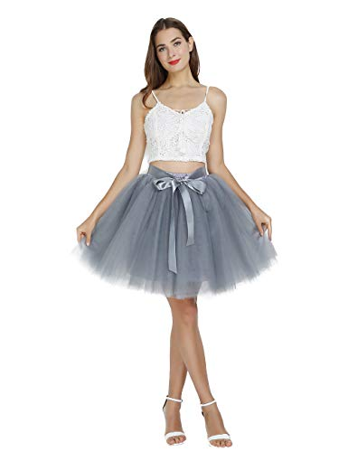 (Women's High Waist Princess Tulle Skirt Adult Dance Petticoat A-line Short Wedding Party Tutu)