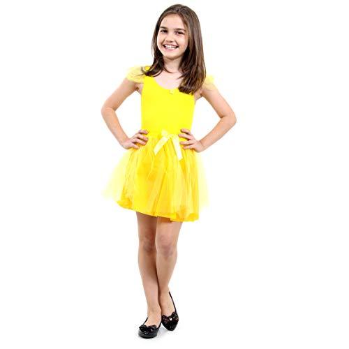 Bailarina Pop Infantil Sulamericana Fantasias Amarelo P 3/4 Anos