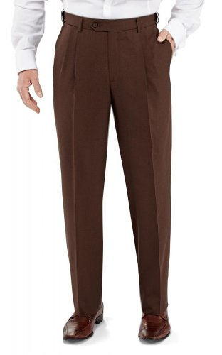 Winthrop & Church Men's Pleated Front Poly Rayon Pants LONG (French Fly Wool Trousers)