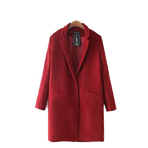Revers Laine Warm Manteau De Rouge Young Mode Femme Longues Dcontract Manches Unie Elgante paisseur Outerwear Manteau Couleur Longues Styles Coat Bouffant Parka Hiver Automne w6FqwrU1