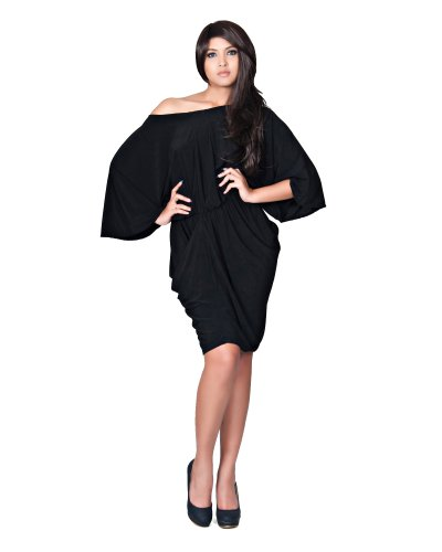 KOH KOH Womens Dolman Short Sleeve V-neck Cute Party Knee Length Midi Dresses Long Kimono Sleeves Butterfly Bridesmaids Nice Dress, Color Black, Size Medium M 8-10