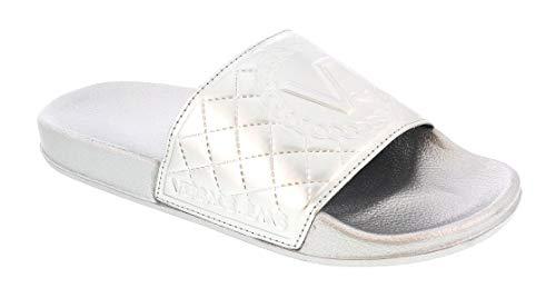 Versace Silver Versace Jeans Logo Slide/Sandal for Womens