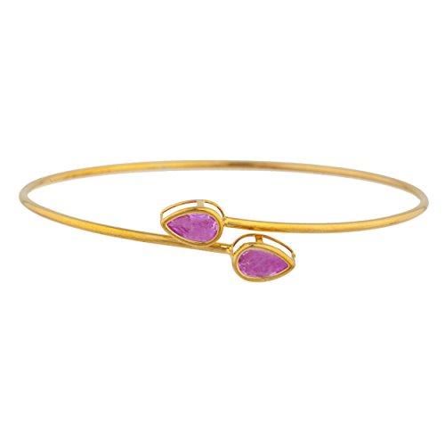 (14Kt Gold Pink Sapphire Pear Bezel Bangle)