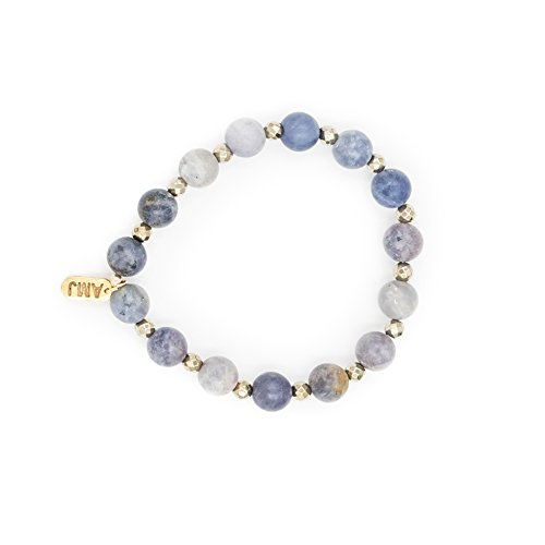 - A. Marie Two Tone Matte Dumortierite Stones and Pewter Hematite Plated Stretch Bracelet